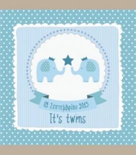 Πιστοποιητικό γέννησης ελεφαντάκια -Twins boys 30Χ30εκ