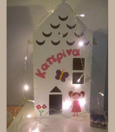 Personalized ξύλινο φωτιστικό σπιτάκι για κοριτσάκι