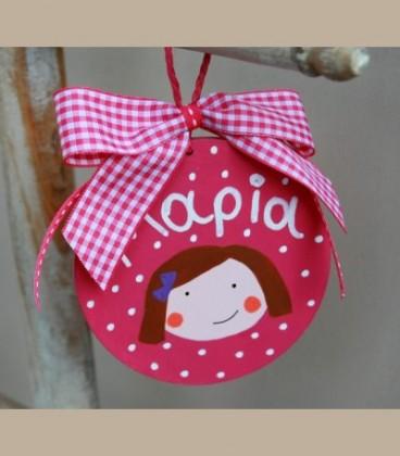 Personalized ξύλινο στολίδι φούξια κοριτσάκι