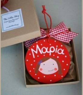 Personalized ξύλινο στολίδι κόκκινο κοριτσάκι