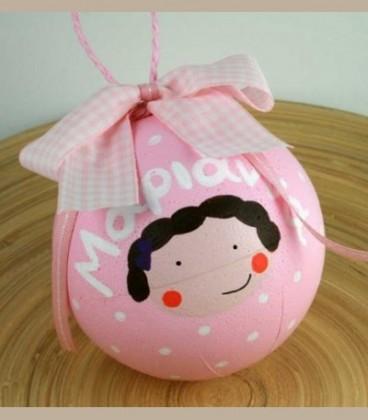 Χριστουγεννιάτικη μπάλα με όνομα ροζ για κοριτσάκι