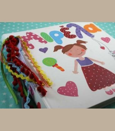 Χειροποίητο άλμπουμ λεύκωμα κοριτσάκι πολύχρωμο