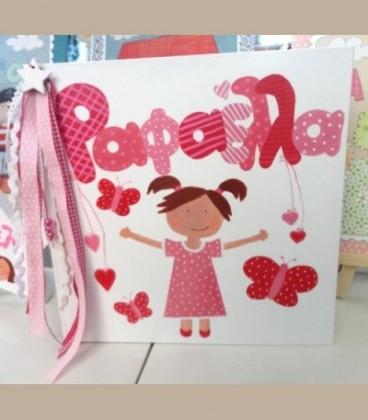 Χειροποίητο άλμπουμ λεύκωμα κοριτσάκι ροζ αποχρώσεις