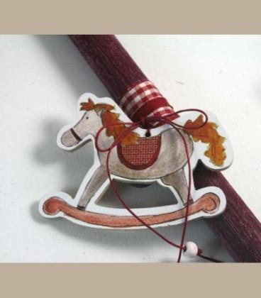 Πασχαλινή λαμπάδα μπορντώ αλογάκι
