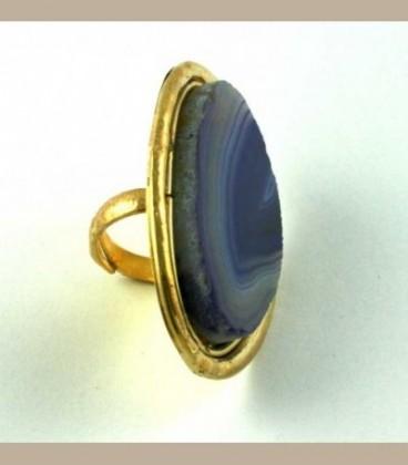 Χειροποίητο δαχτυλίδι με Αχάτη μωβ