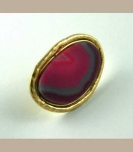 Χειροποίητο δαχτυλίδι με Αχάτη ροζ