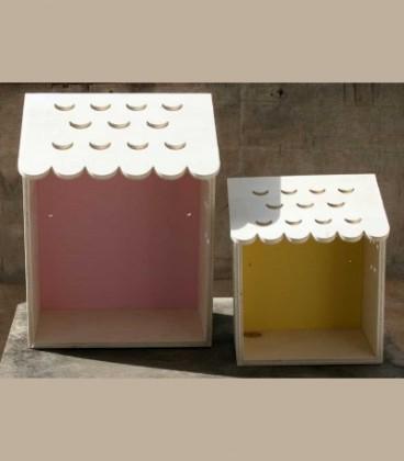 Ξύλινα ραφάκια σπιτάκια σετ των 2 (ροζ/κίτρινο)