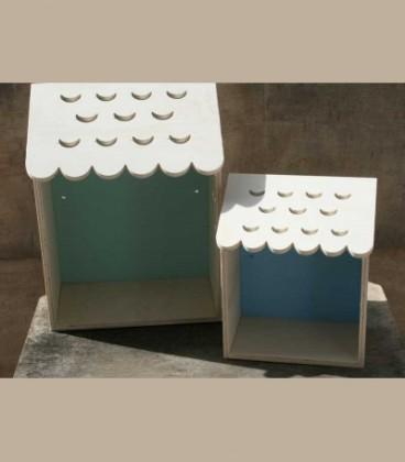 Ξύλινα ραφάκια σπιτάκια σετ των 2 (βεραμάν/γαλάζιο)