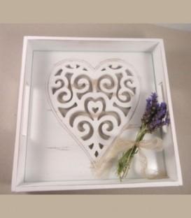 Χειροποίητος δίσκος ντεκαπέ 30εκ Χ30 εκ με καρδιά