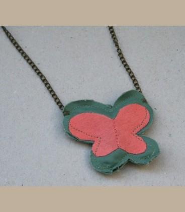 Πεταλούδα κολιέ ροζ -πράσινο