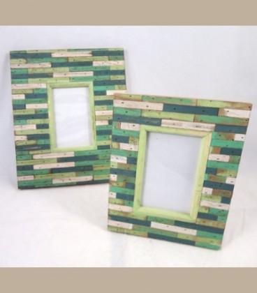 Κορνίζα για φωτογραφία ξύλινη μαρκετερί πράσινο 19Χ24cm