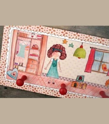 """Κρεμάστρα τοίχου """"Παιδικό δωμάτιο"""" κορίτσι 40 x 20εκ."""