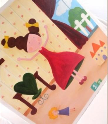 """Πίνακας """"Κοριτσίστικο δωμάτιο Α'' 40 εκ Χ40 εκ"""