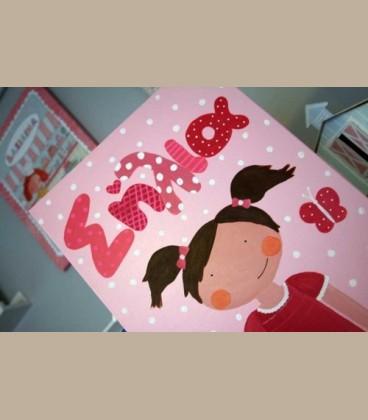 Παιδικός πίνακας κοριτσάκι ροζ 30X40