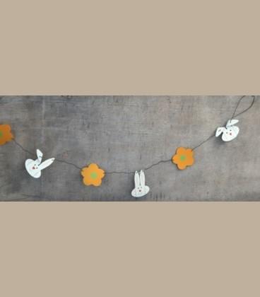Μεταλλική γιρλάντα λαγουδάκια - λουλούδια