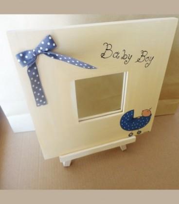 Χειροποίητος ξύλινος καθρέφτης   vintage Baby boy