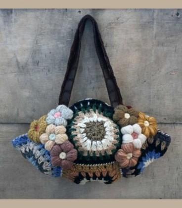 Χειροποίητη μάλλινη τσάντα λουλούδια Α