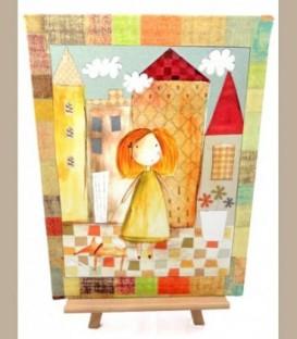Βόλτα στην πόλη κορίτσι Πίνακας 40Χ30εκ