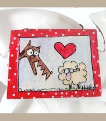 Χειροποίητη ξύλινη καρφίτσα/ Το Πρόβατο και ο Λύκος
