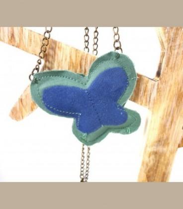 Πεταλούδα κολίε πράσινο-μπλέ