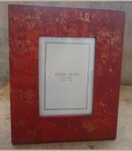 Ξύλινη κορνίζα με παλάιωση κόκκινο χρυσό