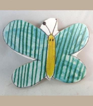 Ξύλινο μαγνητάκι πεταλούδα πράσινη
