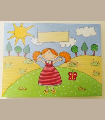 """Πίνακας για κορίτσι """"Βόλτα στην εξοχή"""" 40Χ30"""