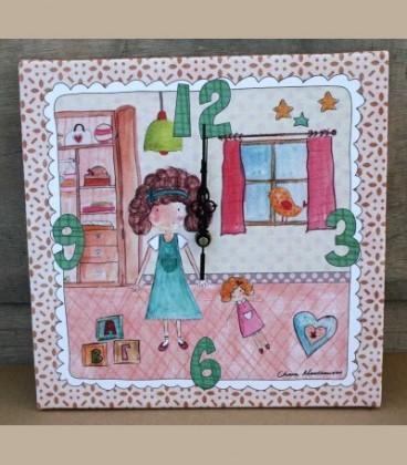 """Ρολόι τοίχου """"Παιδικό δωμάτιο"""" κοριτσάκι 30 x 30εκ."""