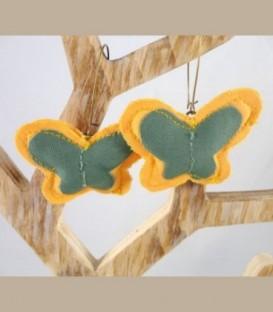 Πεταλούδες Κίτρινο - πράσινο Σκουλαρίκια