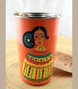 Χειροποίητο διακοσμητικό ποτήρι Frida Kahlo πορτοκαλί