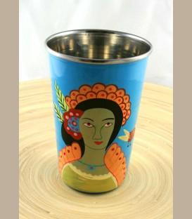 Χειροποίητο διακοσμητικό ποτήρι Frida Kahlo μπλε
