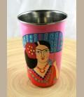 Χειροποίητο διακοσμητικό ποτήρι Frida Kahlo ροζ