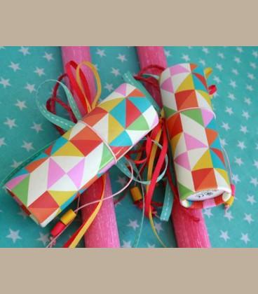 Λαμπάδα φούξια χρωματιστές ξυλομπογιές
