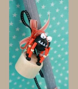Λαμπάδα γκρι με ξύλινη αράχνη