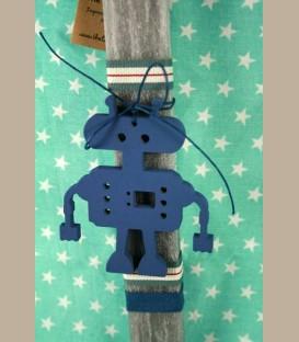 Λαμπάδα ρομπότ ξύλινο μπλέ