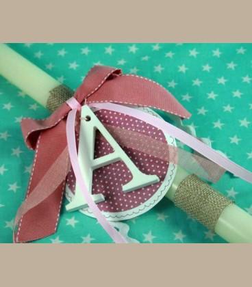 Λαμπάδα για κοριτσάκι με ξύλινο μονόγραμμα - ροζ