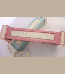 Κουτί ροζ για πιστοποιητικό γέννησης