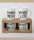 """Σετ κεραμεικές κούπες """"Happy Wife"""" & """"Happy Life"""""""