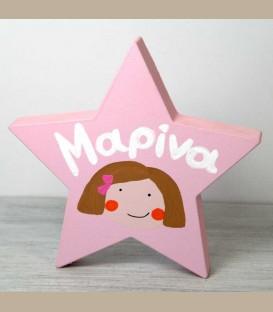Personalized ξύλινο αστέρι ροζ κοριτσάκι 14εκ